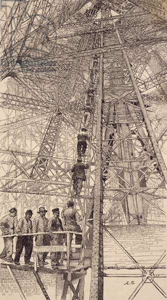 Workers ascending tower during construction of Eiffel Tower for Paris World Fair, 1889, France, 19th century