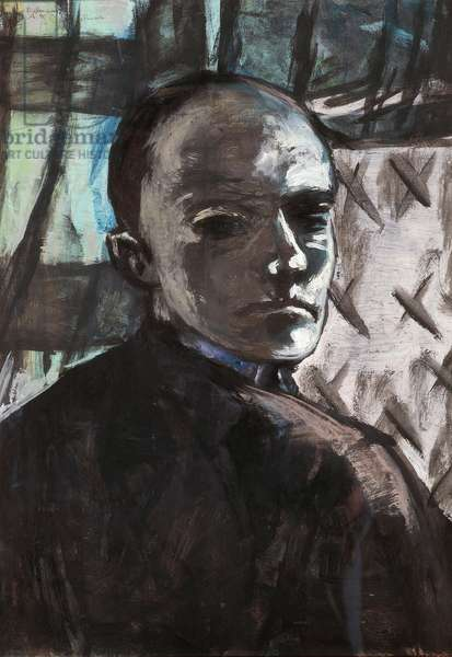 Self-portrait with green curtain, 1940, by Max Beckmann (1884-1950), oil on canvas. Germany, 20th century.