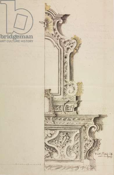 Design for altar dedicated to Blessed Virgin Mary in parish church of Carcano, Albavilla, parish of Incino Erba, May 5, 1760, Cardinal Giuseppe Pozzobonelli, elevation drawing, Italy, 18th century
