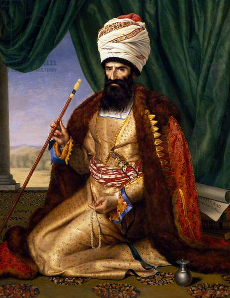Asker Khan Ambassador of Persia in 1808, 1809, painting by Cesarine Henriette Flore Davin (1773-1844), oil on canvas, 170x133 cm