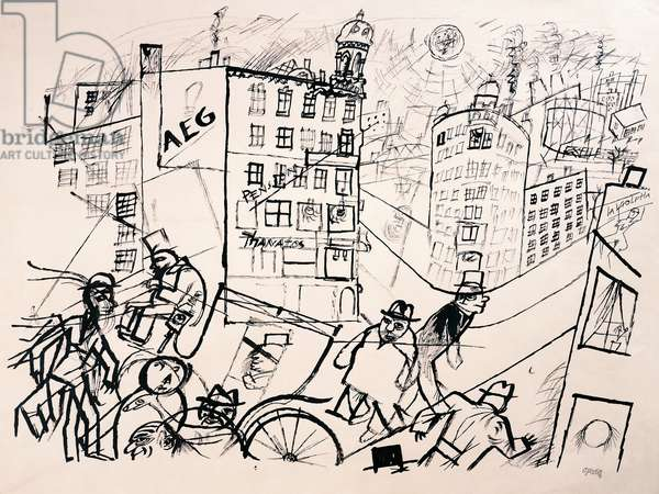 La rue aux Fiacres, 1917, drawing by George Grosz (1893-1959). Germany, 20th century.