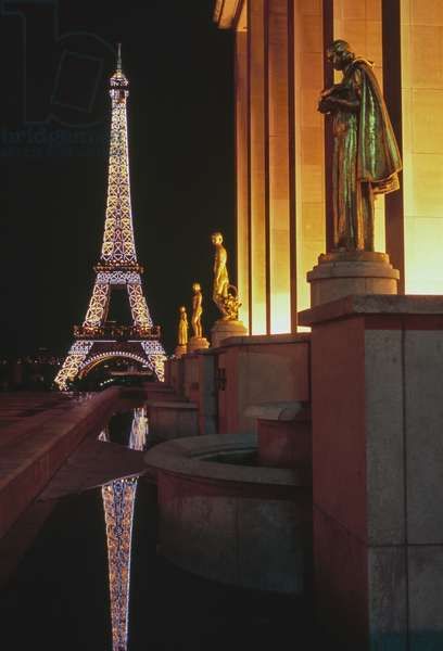 The Eiffel Tower illuminated at night, view from the Palais de Chaillot, Paris (Unesco World Heritage List, 1991), France