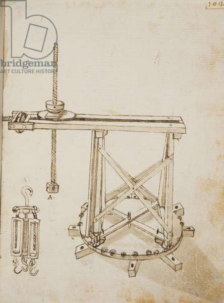 Revolving crane for the lantern (first version), by Bonaccorso Ghiberti (1451-1516), Banco Rari manuscript 228, 104 r.