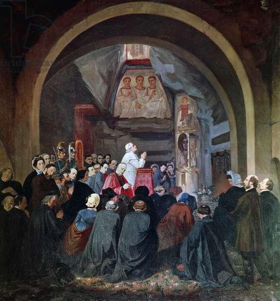 Visit of Pope Pius IX to tomb of St Cecilia, in Catacomb of Callixtus in Rome, November 1854, Italy, 19th century