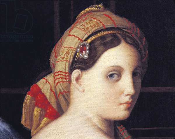 The Odalisque's face, detail from The Great Odalisque, by Jean Auguste Dominique Ingres, detail, oil on canvas, 1780-1867, 44x61 cm