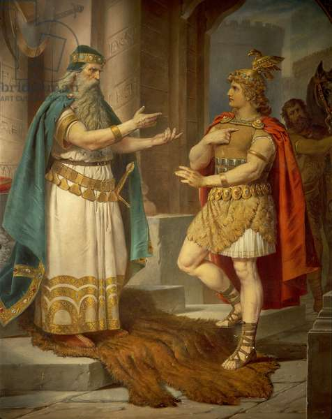 King Sigurd meets the wise hermit Grypin, from the Sigurd Saga, Lower Hall, c.1882-83 (mural)