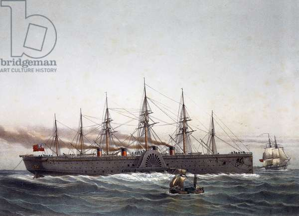 British steamer Great Eastern used as liner, Launched January 31, 1858, 19th century, by Louis Le Breton (1818-1866), Color lithograph