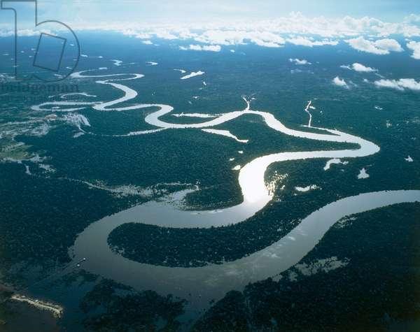 Peru, Loreto Region, Aerial view of Amazon River near Iquitos (photo)