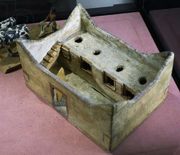 Model of barn, painted wood, Egyptian civilization, Middle Kingdom, Dynasty XI-XII