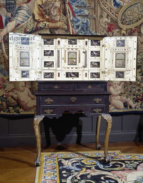 Cabinet in ebony, ivory and precious stones, Netherlands, 16th century