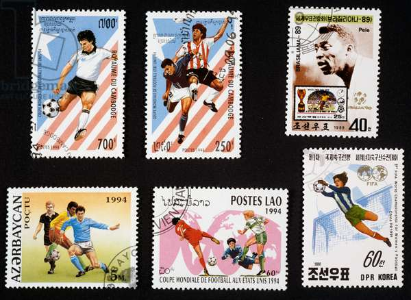 Postage stamps honoring football, 1994 FIFA World Cup in America, portrait of Pele, 1991 FIFA Women's World Cup, Cambodia, North Korea, Azerbaijan, Laos, 20th century