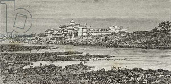 Summer Palace of Maharajah of Rewa, Govindgarh, engraving from India: travel in Central India and Bengal, 1877, by Louis Rousselet (1845-1929)
