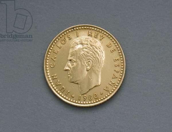 1 peseta coin, 1982, obverse, Juan Carlos I (1938-), Spain, 20th century