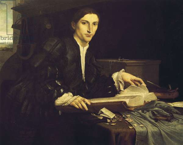 Portrait of a young gentleman in his studio, 1526, by Lorenzo Lotto (1480-1556), oil painting.