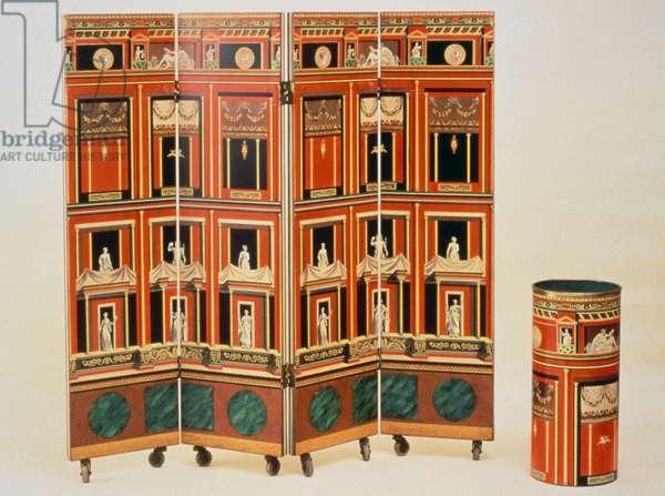 Pompeian screen, 1950s, by Piero Fornasetti (1913-1988). Italy, 20th century.