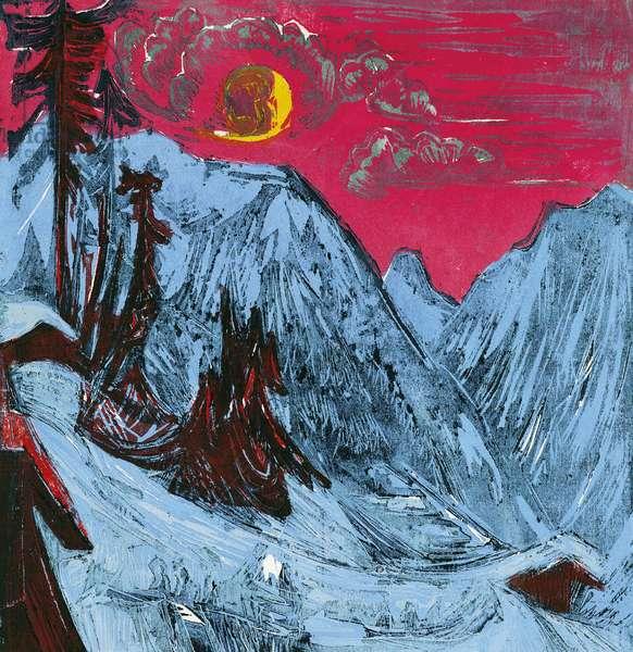 Winter moonlit night, 1919, by Ernst Ludwig Kirchner (1880-1938)