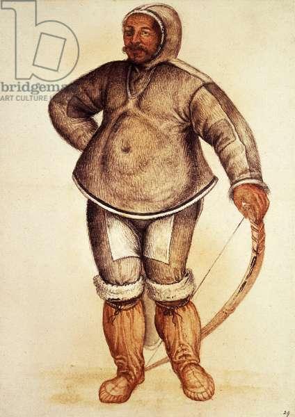 Inuit Man, 1585-1593, watercolour by John White (ca 1540-ca 1593-1606)