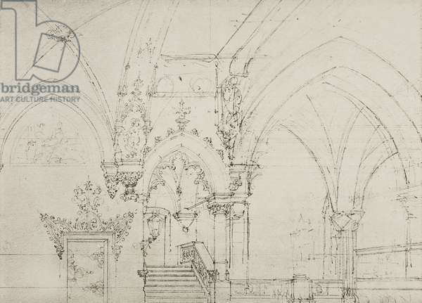 Atrium of Faust's palace, sketch for Act V, Scene IX of the opera Mefistofele by Arrigo Boito, Season 1868, from 500 stage design sketches in five volumes, 1919, by Carlo Ferrario (1833-1907).