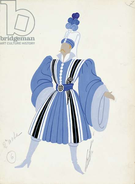 Costume sketch for Ferrando disguised as Albanian officer from 'Cosi Fan Tutte', Paris Opera Comique, March 21, 1952 (w/c on paper)