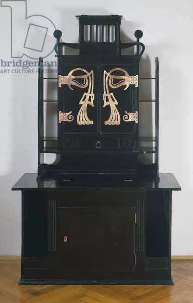 Art Nouveau lacquered alder and partially dyed black studio cabinet, 1898, by Josef Hoffmann (1870-1956), Austria, 19th century