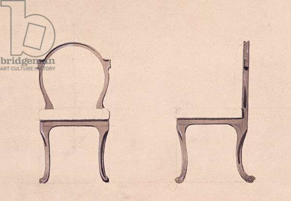 Chair for Golden Room, 1875, by Eugene-Emmanuel Viollet-Le-Duc (1814-1879), watercolor drawing, France, 19th century