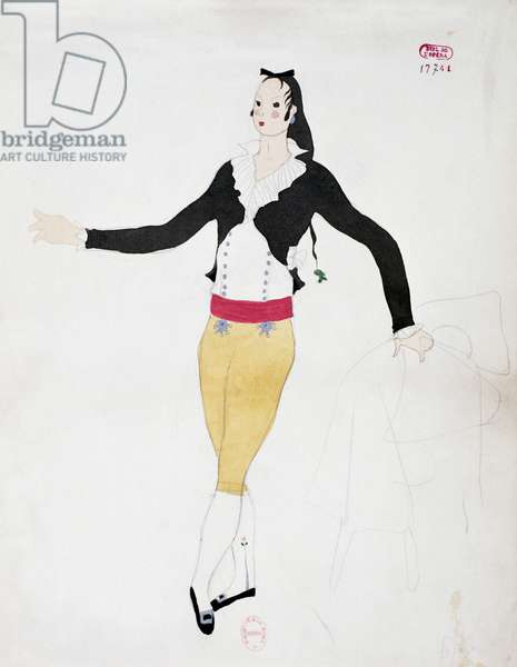 Costume for character of Figaro from The Barber of Seville by Gioacchino Rossini, sketch by Charles Martin (1884-1934), 1933, Paris Opera theatre, 20th century