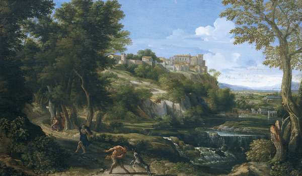 Landscape showing dancing faun and nymph 1667 - 1668, by Gaspard Dughet (1615-1675)