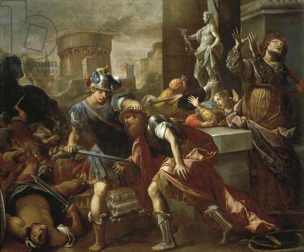 Burning of Troy, by Alessandro Tiarini (1577-1668), oil on canvas, 230.5x273.5 cm