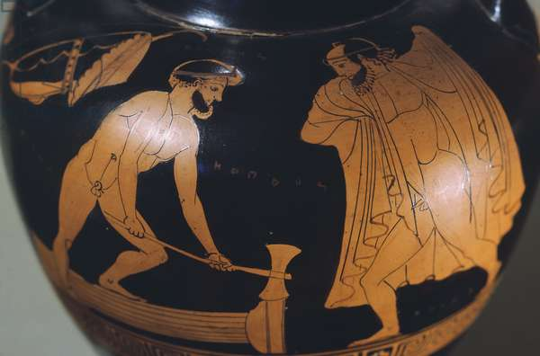 Amphora, attributed to the painter Oinokles, red-figure pottery. Detail showing Hercules and Sileo. Greek Civilization, 6th-5th Century BC.