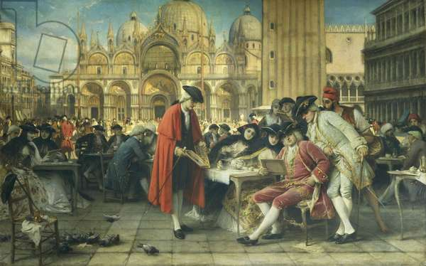 Painter Francesco Guardi, Canaletto's rival, selling his pictures by Giuseppe Bertini (1825-1898), oil on canvas, 1892