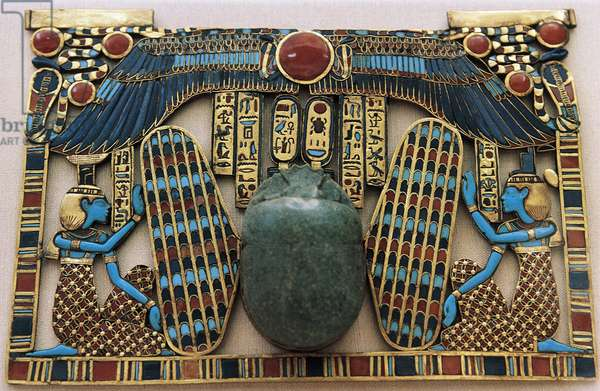 Temple-shaped breastplate, from Tomb of Tutankhamun, Egyptian civilization, 18th Dynasty