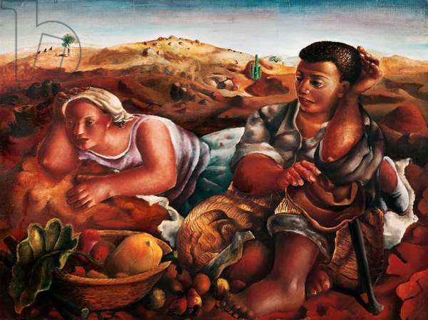 Gypsies, 1940, by Emiliano di Cavalcanti (1897-1976), oil on canvas, 97x130 cm. Brazil, 20th century.