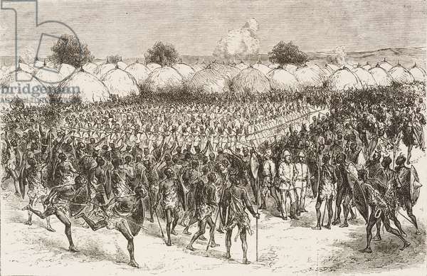 Masindi square, Uganda, Sir Samuel Baker's anti-slavery expedition, engraving from L'Illustrazione Italiana, Year 3, No 13, January 23, 1876