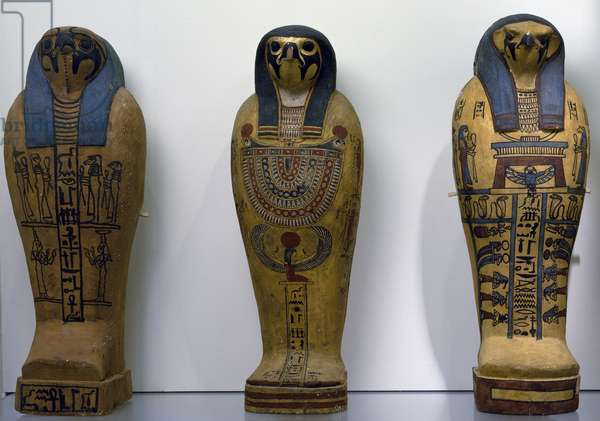 Pseudo sarcophagus of Osiris, painted sycamore wood, from excavations around Tehneh, Egyptian civilization, 1st-2nd century