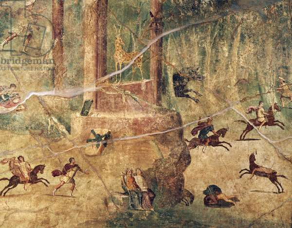 Fresco depicting hunt scene from Ercolano, ancient Herculaneum, Campania Region, Italy