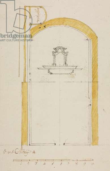 Design for expansion of main altar in parish church of Noceno, parish of Bellano, June 23, 1760, Cardinal Giuseppe Pozzobonelli, plan, Italy, 18th century