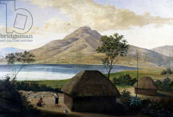 Lagoon, San Pablo, near Quito, Ecuador, 1802, engraving from Voyage to Equinoctial Regions of New Continent, 1799-1804, by Alexander von Humboldt (1769-1859) and Aime Bonpland (1773-1858), South America, 19th century