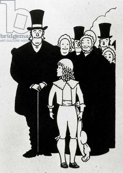 Little Lord Fauntleroy and some adults, illustration for Little Lord Fauntleroy by Frances Hodgson Eliza Burnett, Milan, 1945