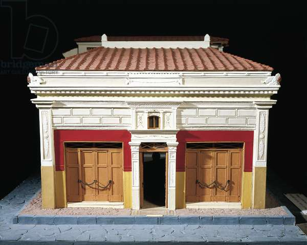 Italy, Pompeii, Side entrance to Scale model of the House of the Tragic Poet at Pompeii By Enrico Scalfi (1857-1935)