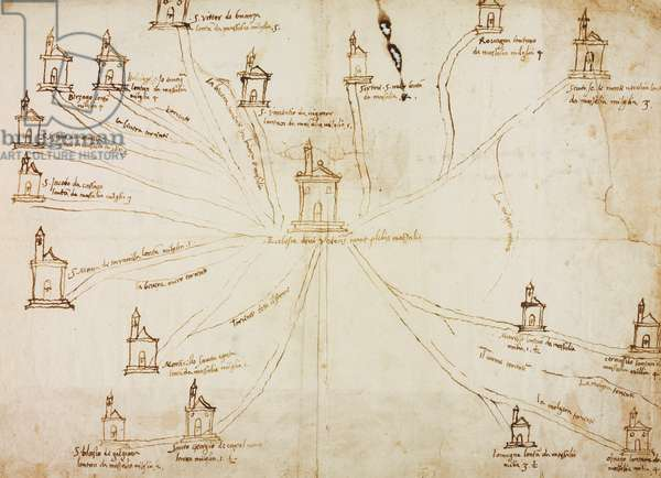 Plan of parish of Missaglia with churches and villages in its jurisdiction, on occasion of pastoral visit of Carlo Borromeo, ink drawing, Italy, 16th century