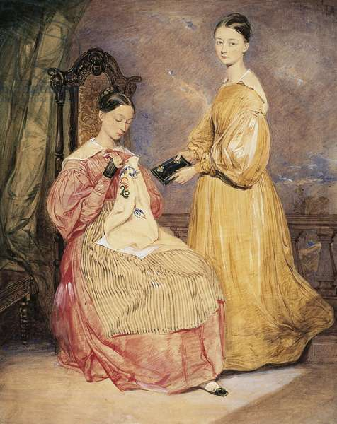 Portrait of Florence Nightingale (1820-1910) with her sister Frances Parthenope, Watercolor by William White Warren (1832-1911 or 1912)