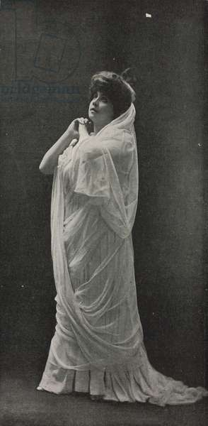 Madame Arman de Caillavet (Leontine Lippmann, 1844-1910) during theatrical performance, wearing ancient Greek costume, photograph by Cautin and Berger, from Le Figaro-Modes, No 14, February, 1904