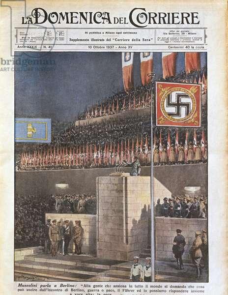 Mussolini in Berlin, from 'La Domenica del Corriere', 10th October 1937 (colour litho)