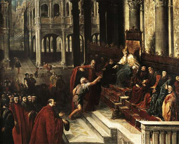 Italy, Venice, painting of fisherman giving ring to Doge of Venice