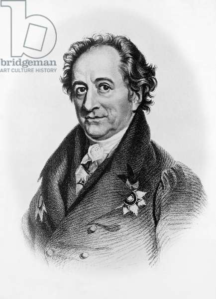 Portrait of Johann Wolfgang von Goethe (1749-1832), German writer, poet, and playwright, lithograph