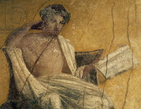 Greek playwright Menander, detail from fresco, peristyle of House of Menander, Pompeii, Campania, Italy, Roman civilization