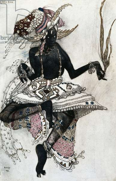 Costume for ballet Le Dieu Bleu ( Blue God), watercolor by Leon Bakst (1867-1927) from Ballets Russes' program organized by Serge Diaghilev in May-June 1912, France