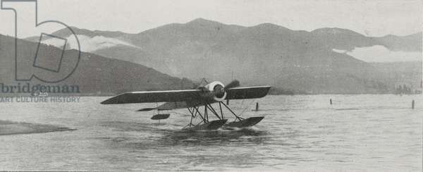 Roland Garros taking off in his Moran-Saulnier, seaplane races on Lake Como, Italy, from L'Illustrazione Italiana, Year XL, No 41, October 12, 1913