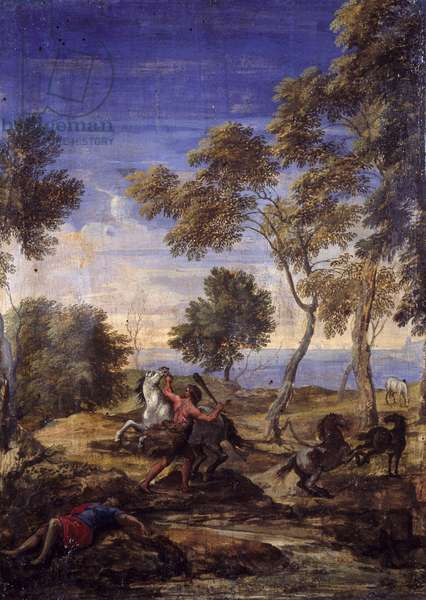Countryside battle of the centaurs (oil on canvas)