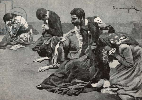 Demonopathics at Caravaggio Sanctuary, Italy, engraving from drawing by Arnaldo Ferraguti, from L'Illustrazione Italiana, year 18, no 39, September 27, 1891
